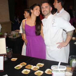 """<a href=""""http://sf.eater.com/archives/2011/02/18/fifth_floors_david_bazirgan_dubbed_eater_hottest_chef_in_america.php/"""" rel=""""nofollow"""">Eater hottest chef in America</a> David Bazirgan and his wife, who's pretty hot herself.  He served a springy bite with"""