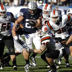 Brigham Young Cougars running back David Foote runs the ball as Brigham Young University faces Idaho State in NCAA football in Provo, Saturday, Oct. 22, 2011.