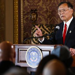 Sen. Brian Shiozawa, R-Cottonwood Heights, speaks during a ceremony to celebrate the signing of a concurrent resolution affirming Utah's support for the religious and civil liberties of immigrants and refugees during a ceremony at the Capitol in Salt Lake City on Monday, April 17, 2017.
