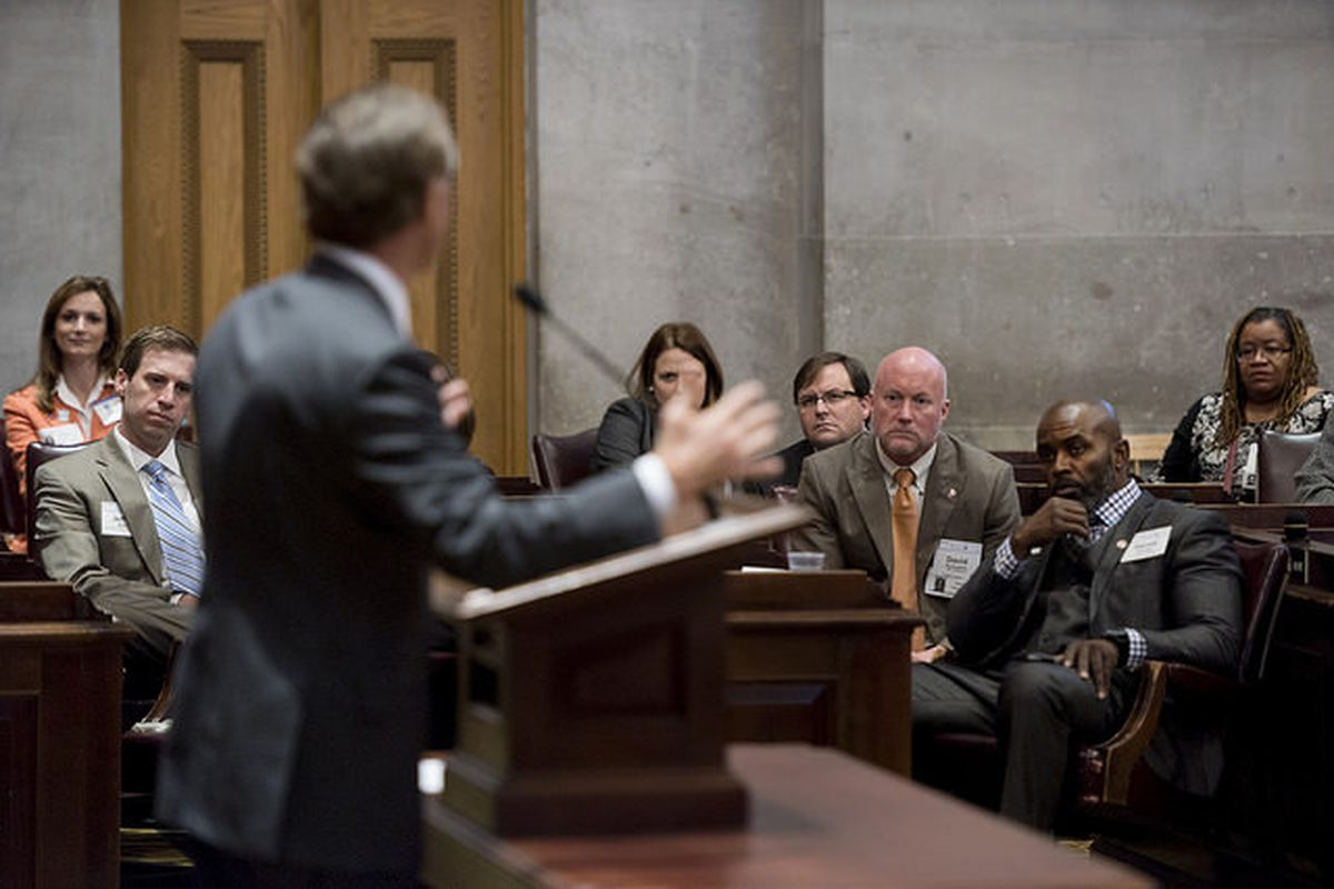 Gov. Bill Haslam speaks earlier this month to constituents from Chattanooga, home of the Hamilton County Board of Education, which sued the state Tuesday with six other school districts for underfunding education in Tennessee.