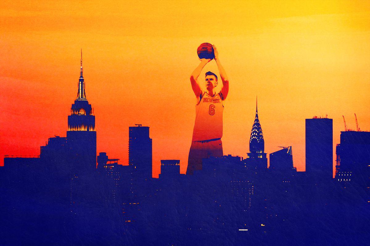 Kristaps Porzingis shooting a basketball over the New York City skyline