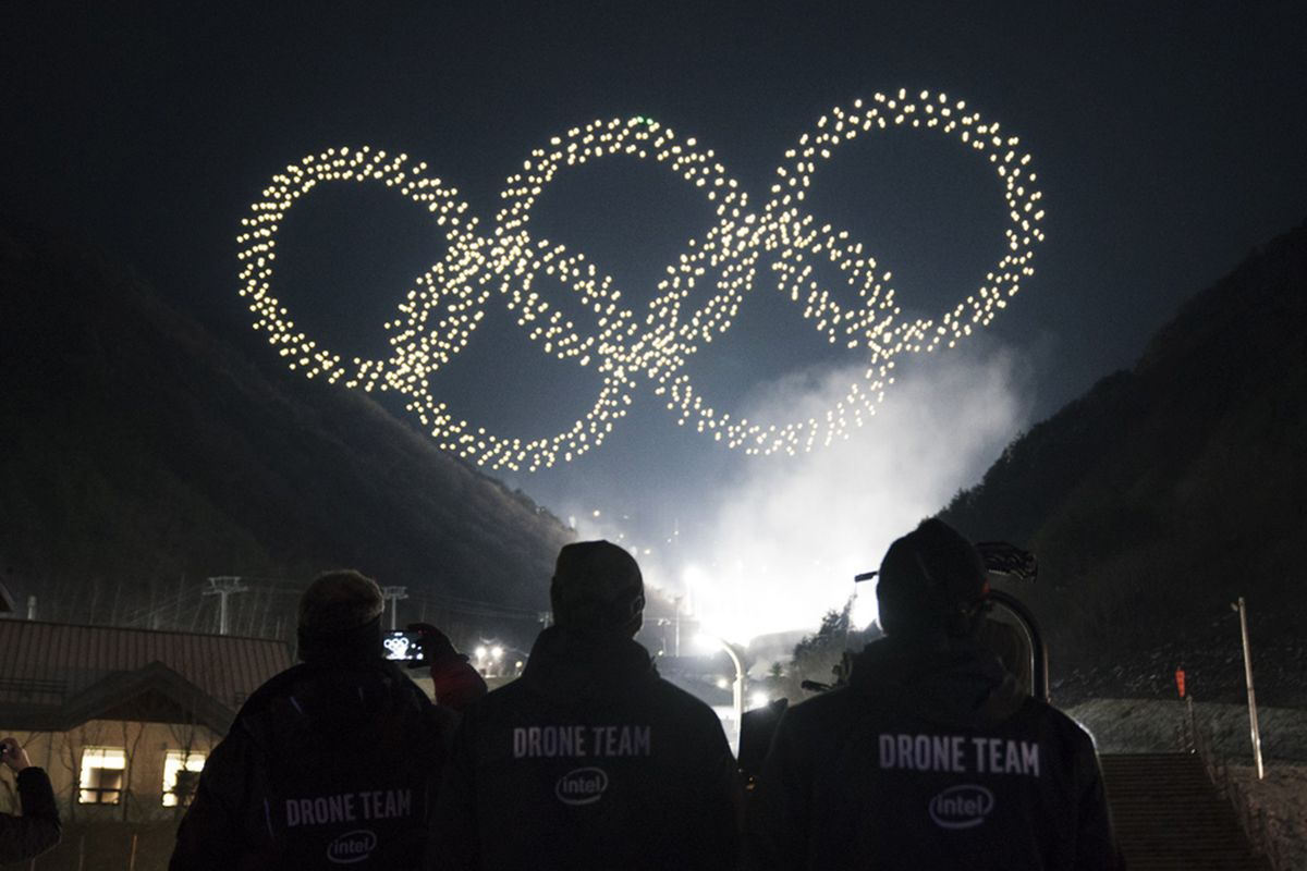 Intel's drones light up Winter Olympics with record-breaking flight