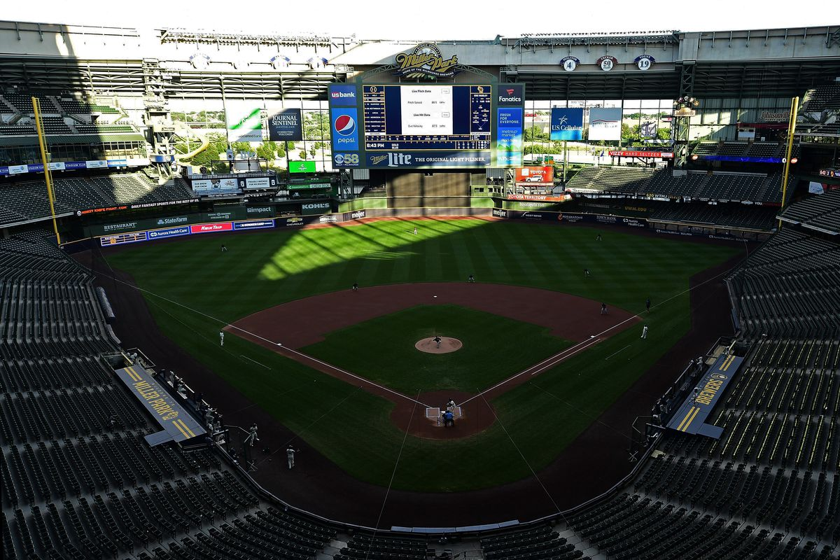 A general view of Miller Park during Summer Workouts for the Milwaukee Brewers on July 17, 2020 in Milwaukee, Wisconsin.