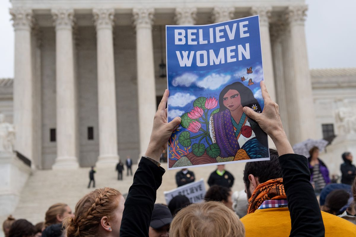 Demonstrators protest against the Supreme Court nomination of Judge Brett Kavanaugh, who has been accused of sexual misconduct by Christine Blasey Ford, Deborah Ramirez, and Julie Swetnick