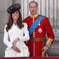Celebrating Queen Elizabeth II's birthday by wearing Alexander McQueen to the Trooping The Colour parade on June 11th, 2011.