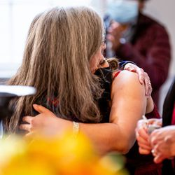 Joan Gregory, left, embraces Vicky Chavez at the First Unitarian Church of Salt Lake City on Thursday, April 15, 2021. Chavez left the church, where she has spent more than three years living in sanctuary, on Thursday after receiving a one-year stay of removal.