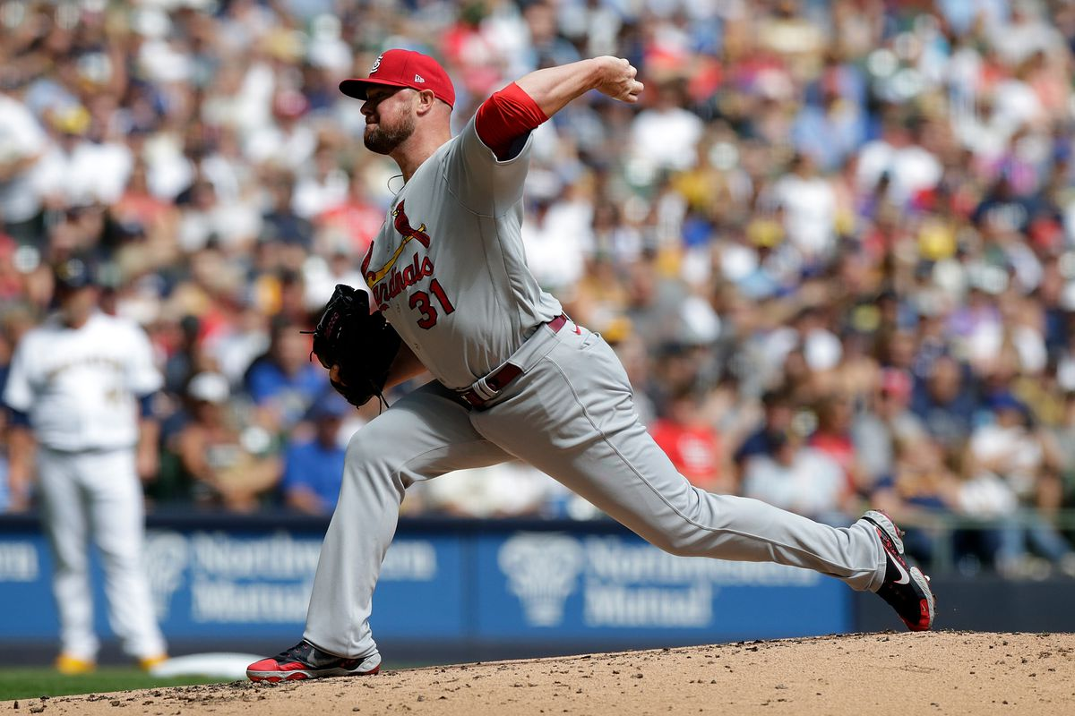 Jon Lester #31 of the St. Louis Cardinals throws a pitch against the Milwaukee Brewers at American Family Field on September 05, 2021 in Milwaukee, Wisconsin.
