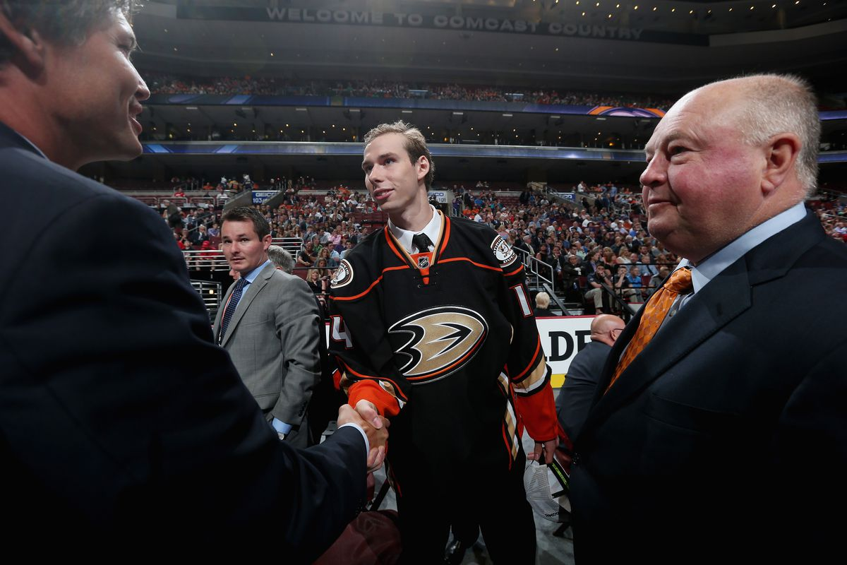Marcus Pettersson meets with Ducks brass after being picked last season.