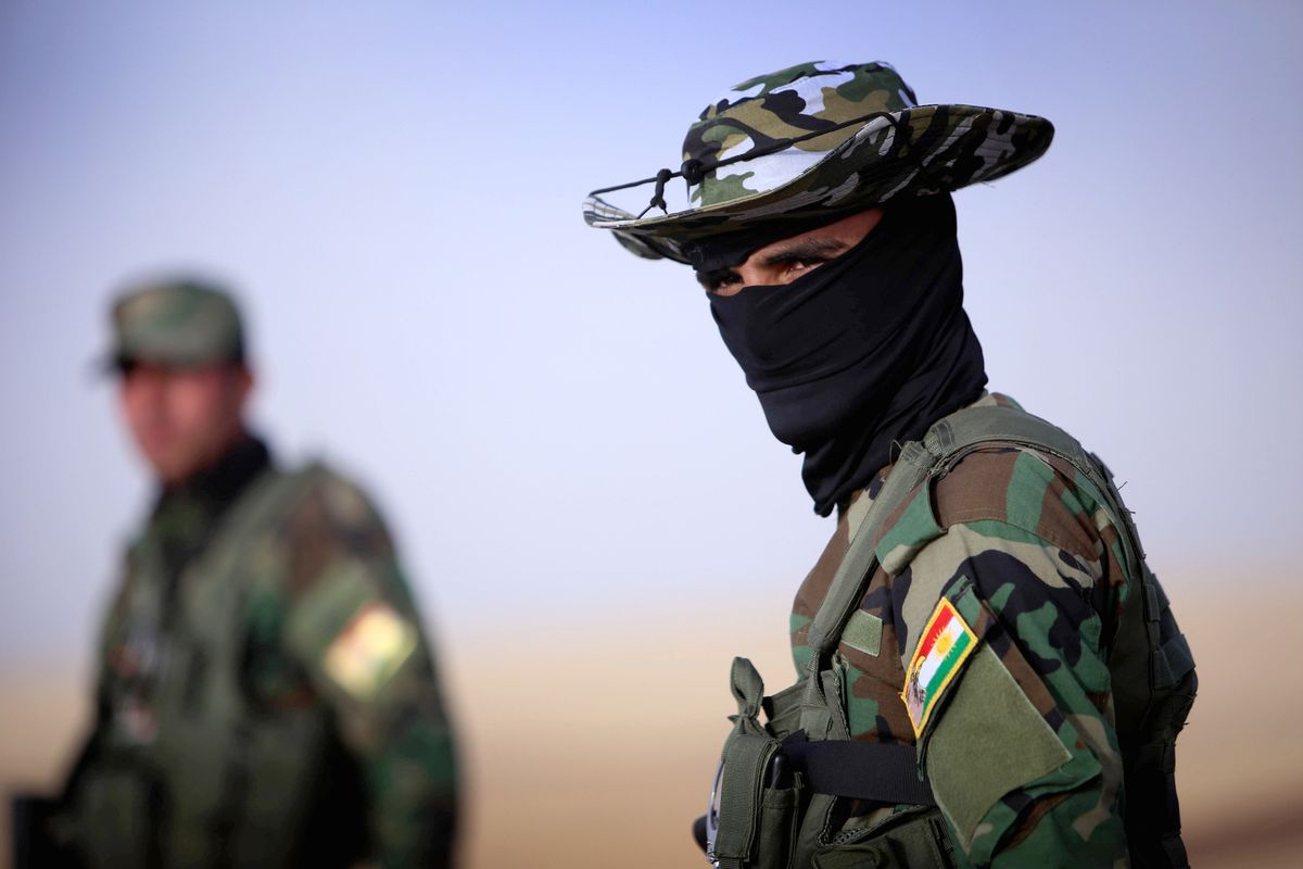 A soldier at a checkpoint in Kurdish-controlled Iraq