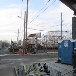 Waveland view, looking west, new structure on north side of street, another view -