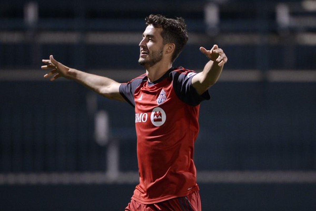 USL Photo - Toronto FC II's Matt Srbely celebrates his goal in a 2-0 win over Nashville SC on Saturday night in Rochester