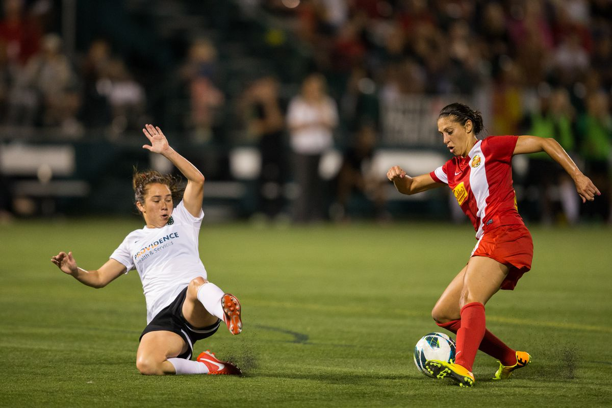 Mana Shim returned to the starting lineup against Seattle and helped put pressure high up the field for Portland.