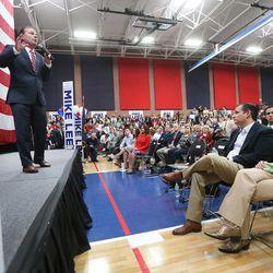Sen. Mike Lee, R-Utah, speaks at a rally in Draper at the American Preparatory Academy Saturday, March 19, 2016.