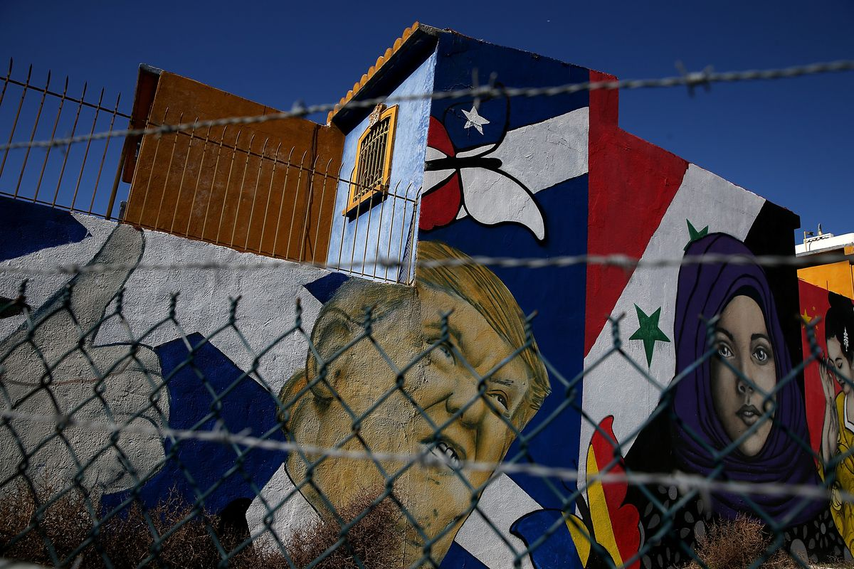 A mural of US President Donald Trump is displayed on the side of a home on January 27, 2017, in Tijuana, Mexico.