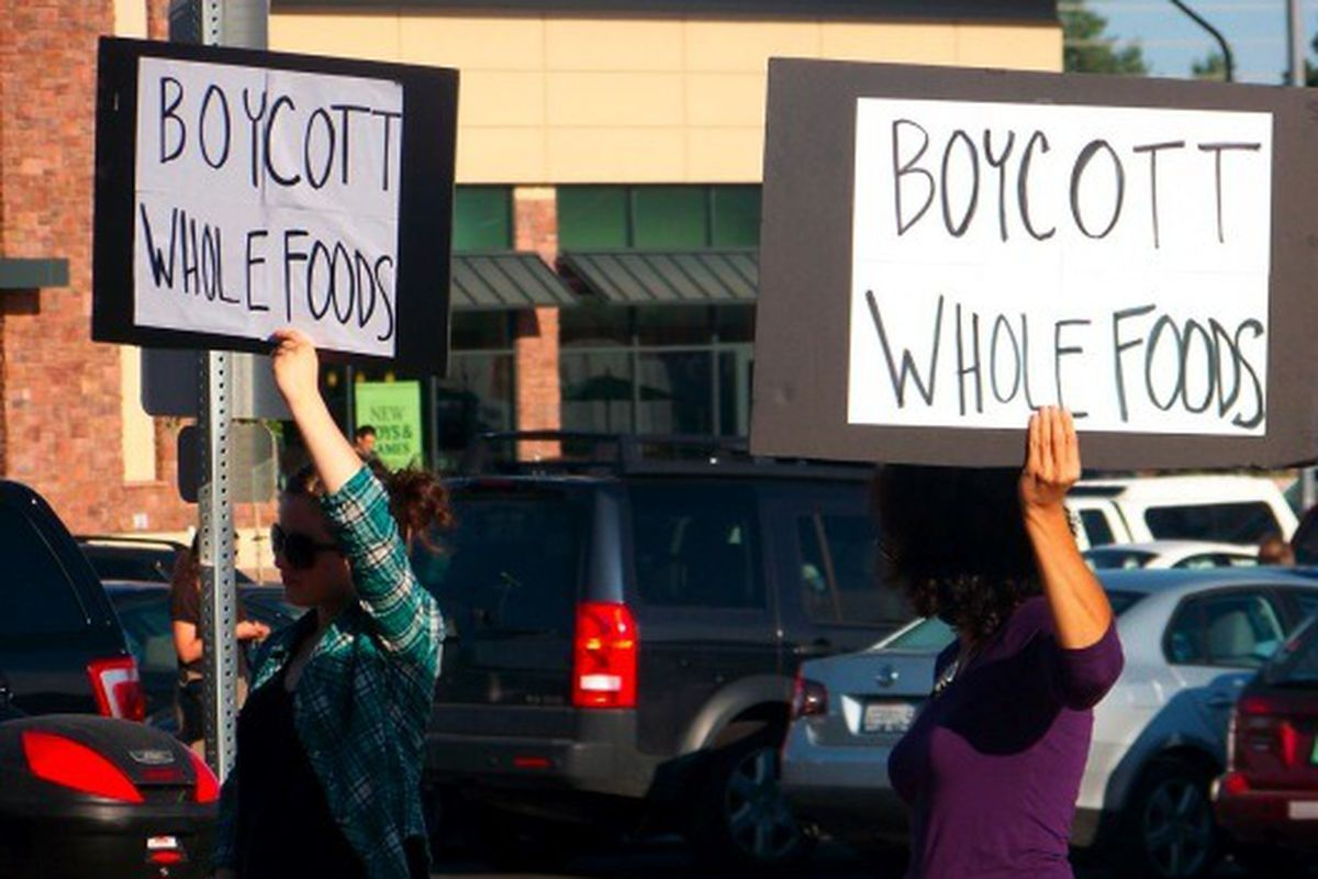 Protesters outside a Whole Foods in Boulder, Co.