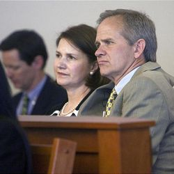 Lois and Ed Smart listen to the proceedings in Judge Judith Atherton's courtroom during Wanda Barzee's sentencing hearing.