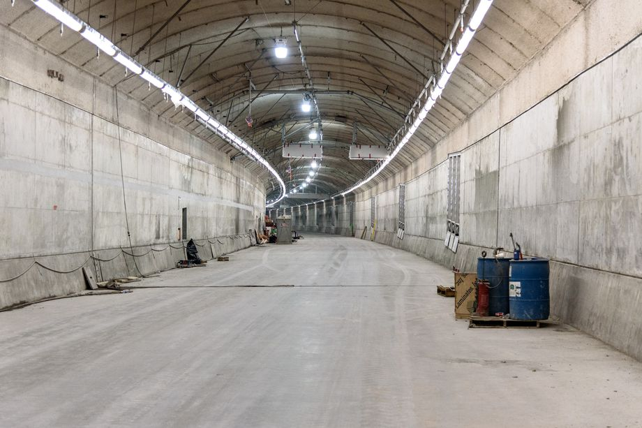 The southbound deck of the State Route 99 tunnel, pictured in January 2018. Courtey of WSDOT