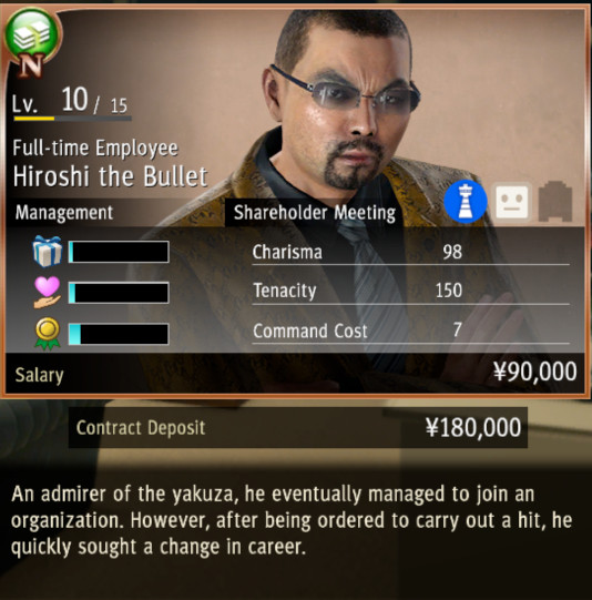 An employee readout in Yakuza: Like a Dragon's management mini-game