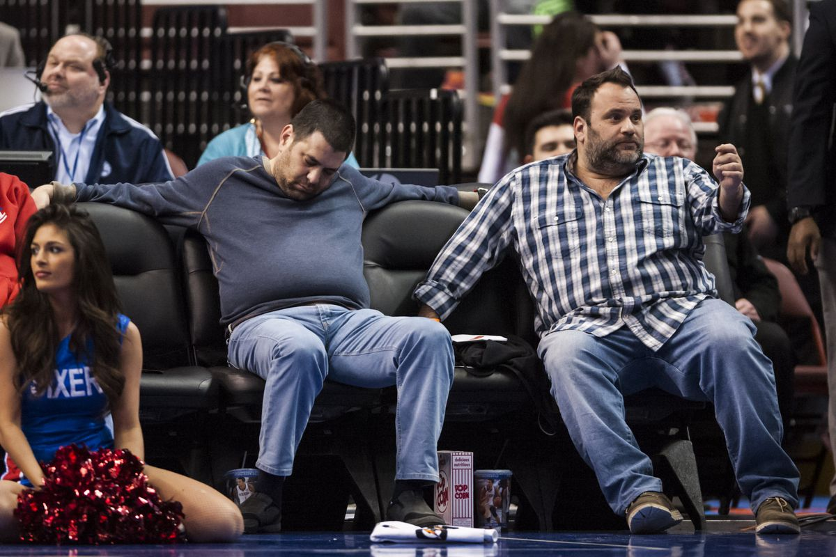 A photo of a Sixers fan who fell asleep during one of their games, just because.