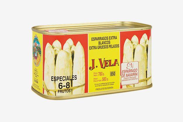 A can of J. Vela white asparagus