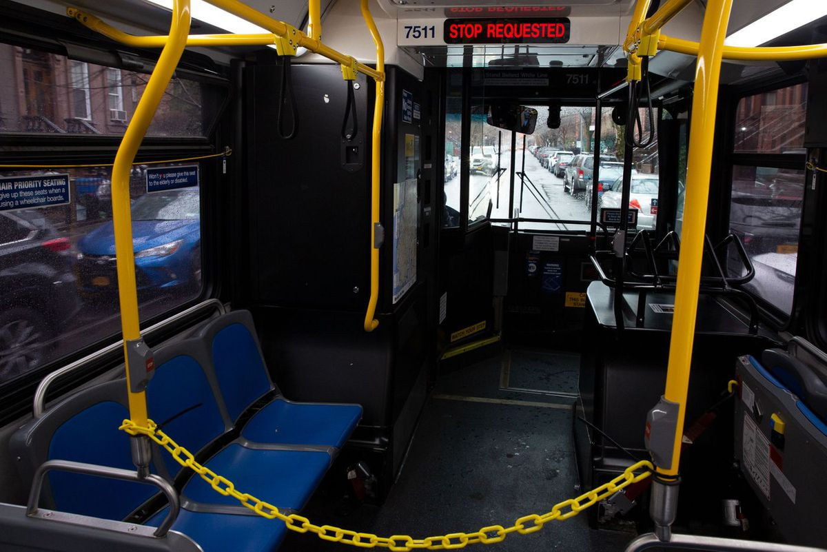 Riders were blocked from getting too close to MTA bus drivers during the coronavirus outbreak.
