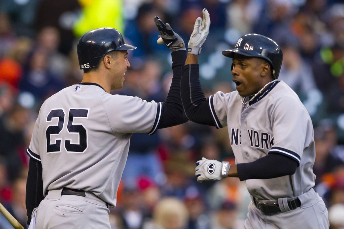 Curtis Granderson and Mark Teixeira are the only two Yankees who have performed well above average against both left handers and right handers.