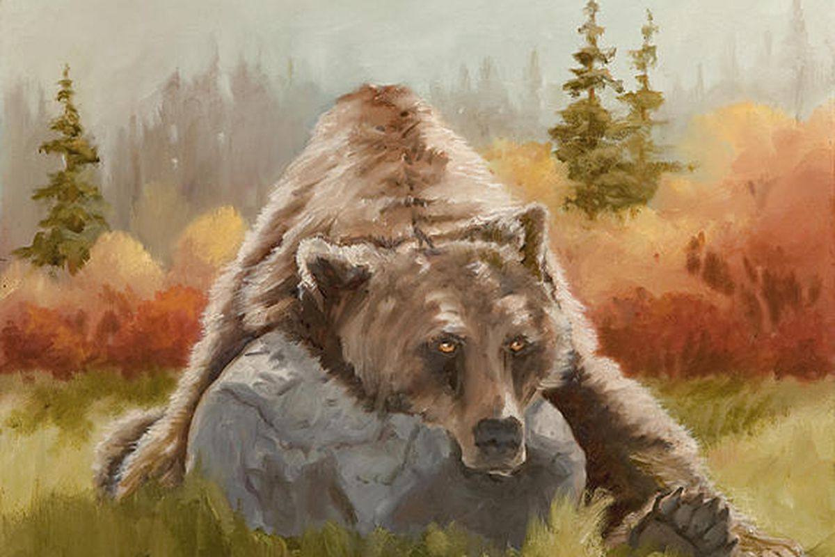 """A bear lounges in autumn splendor in """"Lazy Days,"""" by Keith Dabb, on exhibit at Ogden's Gallery 25 through Aug. 31."""
