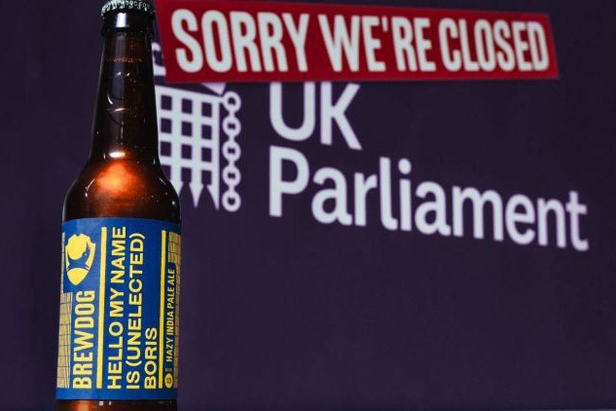 Brewdog's anti-Boris Johnson beer, in front of a backdrop saying Parliament is closed