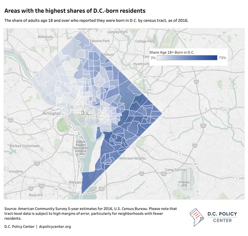 D.C. gentrification: Map shows shares of native Washingtonians by ...