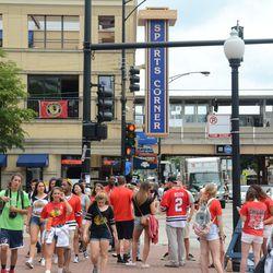 12:58 p.m. Blackhawks fans at Addison & Sheffield -