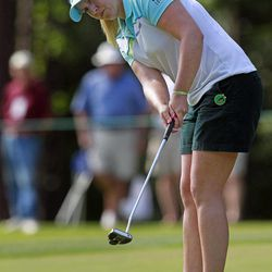 Brittany Lincicome putts on the 18th green during the third round of the Mobile Bay LPGA Classic golf tournament, Saturday, April 28, 2012, in Mobile, Ala.