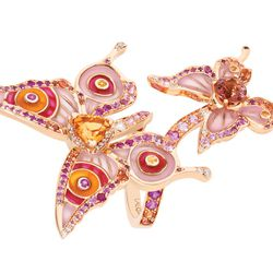 """Lalique brings the glamour with its exquisite Psyche Daytime Ring ($42,000) from the brand's """"Soulmates"""" fine jewelry collection.This spectacular piece features two rose gold butterflies paved with pink, yellow and orange sapphires, diamonds, a trion cut"""