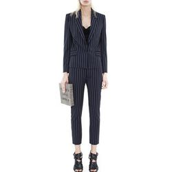 """<strong>Acne</strong> Kid Pinstripe Navy Jacket, <a href=""""http://shop.acnestudios.com/shop/women/new-arrivals/cali-pinstripe-navy.html"""">$610</a>, paired with the Kid Pinstripe Cropped Trousers, <a href=""""http://shop.acnestudios.com/shop/women/new-arrivals/"""