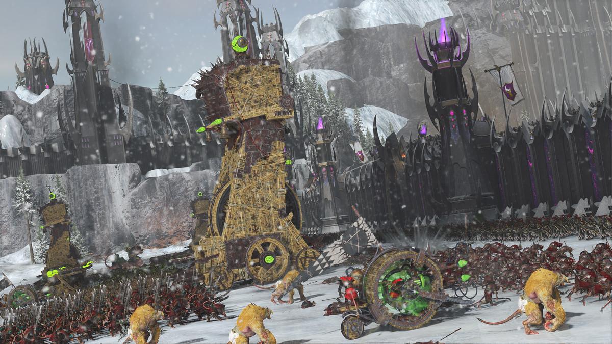 Skaven siege engines march on a citadel held by dark elves.