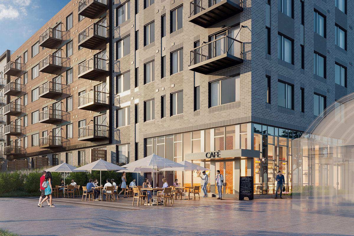 Rendering of a cafe on the corner ground floor space of a six-story building. A glass-enclosed entrance to a T stop is visible next door.