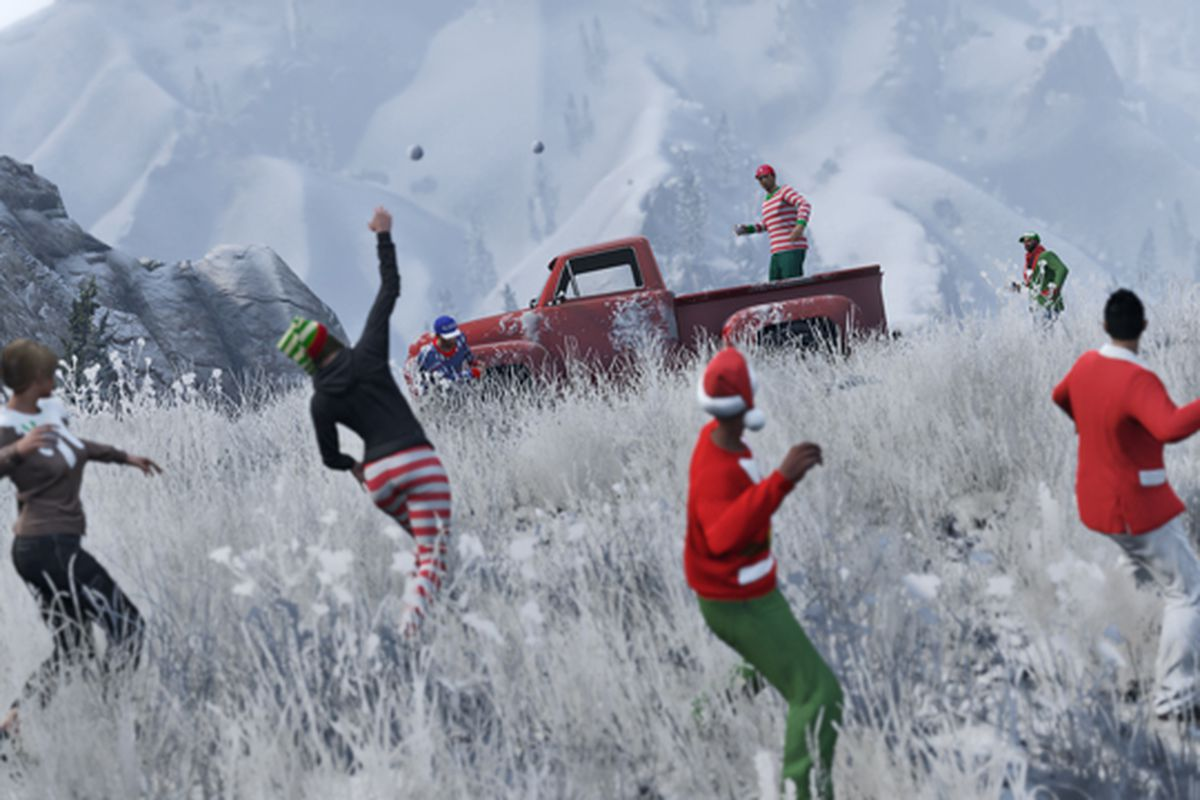You can now have snowball fights in Grand Theft Auto V - The