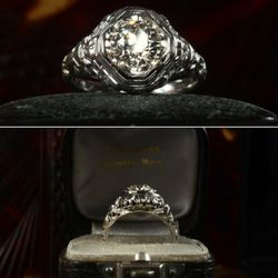 1910s 0.93ct European cut diamond ring, platinum filigree. I usually favor the cleaner forms of Deco jewelry, but sometimes the over-the-top detail of Edwardian filigree is really attractive. The earlier rings often have this broader, more signet-ring-lik