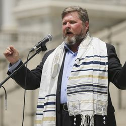 Pastor Tracy Roberts speaks during an Interfaith Spiritual Revival at the Capitol in Salt Lake City on Saturday, May 16, 2020. The event was for all beliefs who support the First Amendment.