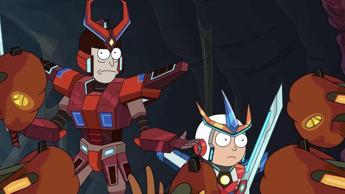 two cartoon people wearing armor