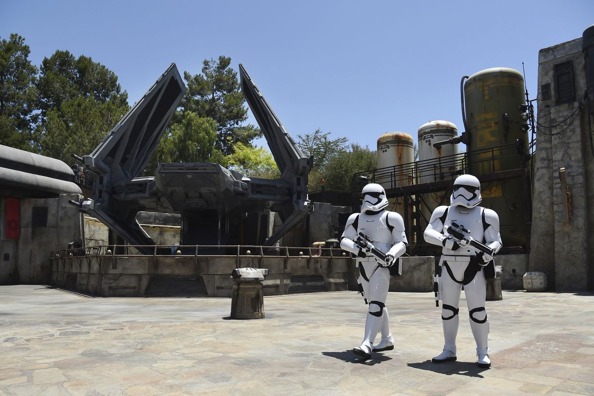 Stormtroopers patrol the Tie Echelon Stage during the Star Wars: Galaxy's Edge media preview at Disneyland Park, Wednesday, May 29, 2019, in Anaheim, Calif.