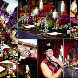 """""""For this 50th birthday party, I created an evening inspired by the colors and detailing of a Faberge egg. She wanted a rich, indulgent party for her and all of her girlfriends, so we covered the tables with floral, richly colored glass and scattered repr"""