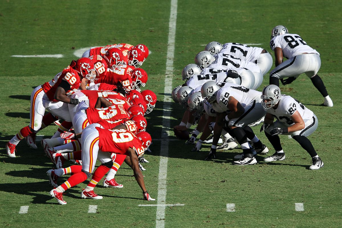 KANSAS CITY, MO - DECEMBER 24:  The Kansas City Chiefs line up against the Oakland Raiders during the game on December 24, 2011 at Arrowhead Stadium in Kansas City, Missouri.  (Photo by Jamie Squire/Getty Images)