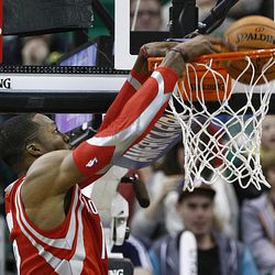 Houston's Dwight Howard slams home a dunk as the Jazz and the Rockets play Saturday, Nov. 2, 2013 in EnergySolutions arena. Jazz lost 104-93.