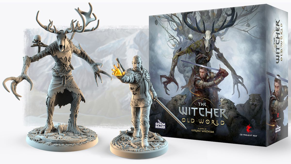 An unpainted Leshen and a Witcher miniature stand beside cover art for The Witcher: Old World.