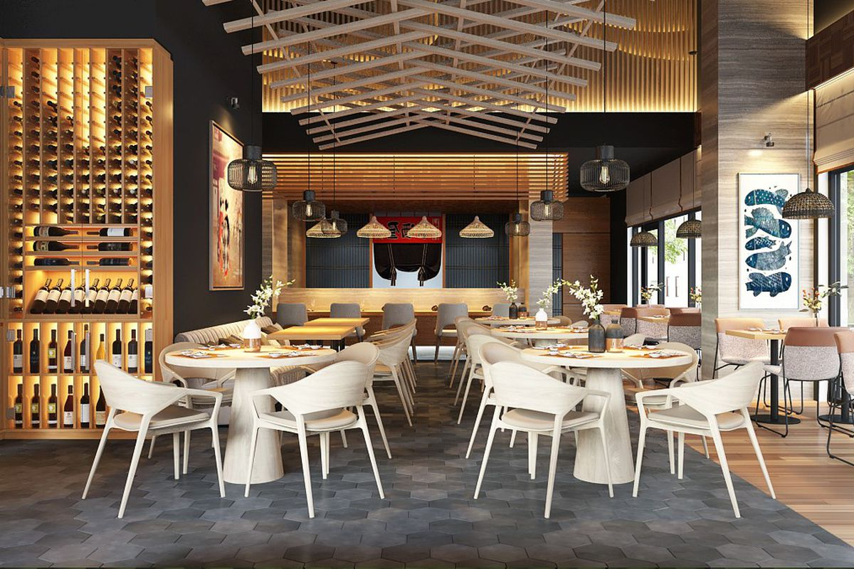 A rendering of the Kanau Sushi dining room