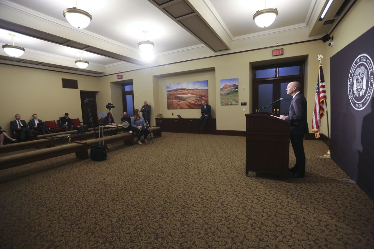 Lt. Gov. Spencer Cox tells members of the media over a live video stream how he misses seeing them in person during a daily media briefing about COVID-19 at the Capitol in Salt Lake City on Wednesday, April 1, 2020.