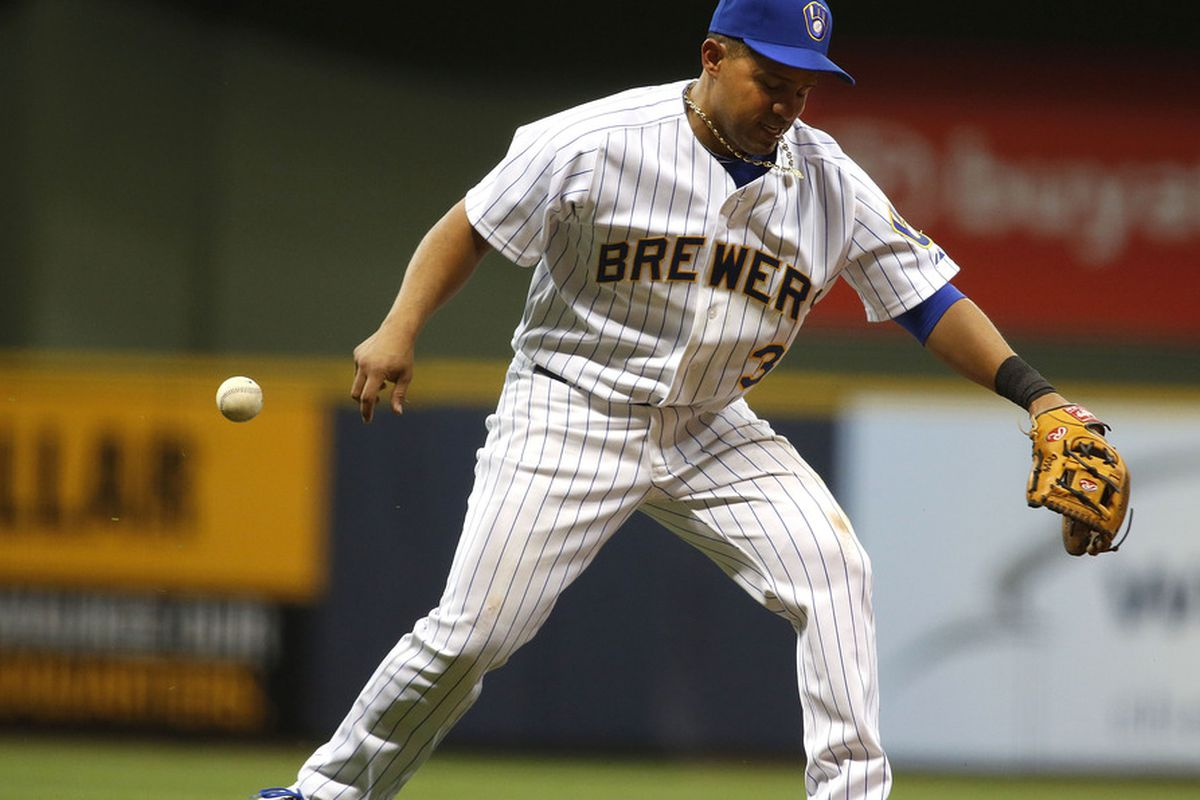 Cesar Izturis (3) of the Milwaukee Brewers practices his Dance Dance Revolution moves while on the field.