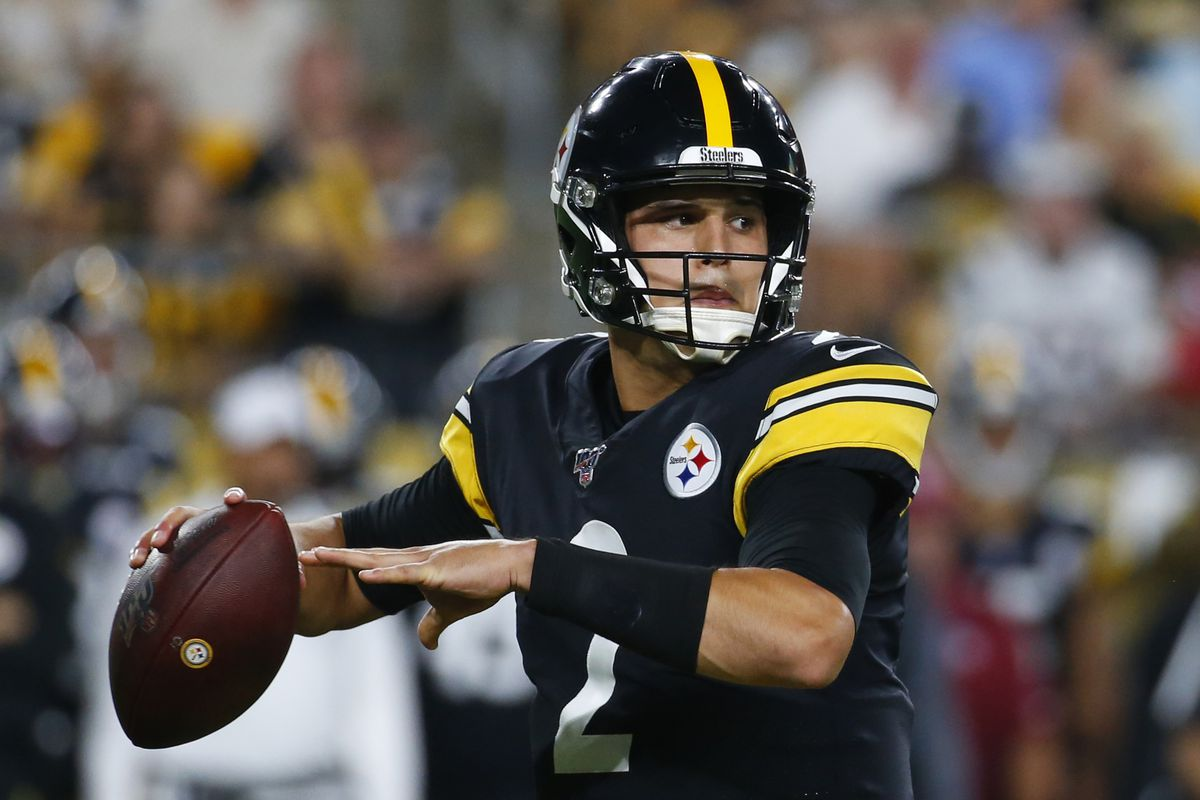 Mason Rudolph of the Pittsburgh Steelers in action during a preseason game against the Kansas City Chiefs on August 17, 2019 at Heinz Field in Pittsburgh, Pennsylvania.