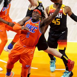 Oklahoma City Thunder forward Luguentz Dort (5) goes to the hoop during the game against the Utah Jazz at Vivint Smart Home Arena in Salt Lake City on Tuesday, April 13, 2021.