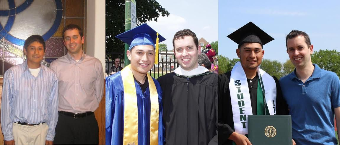 PEAK mentee Jerry Silva and mentor John Malloy: in 2007 at their PEAK Match Night introduction; in 2011, at Silva's graduation from Holy Trinity High School; and in 2016, at Silva's graduation from Chicago State University | Provided/John Malloy